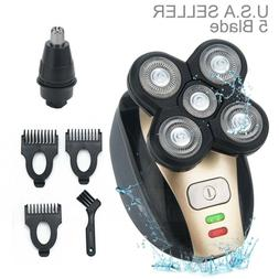 5 in 1 4D Rotary Electric Men Shaver Rechargeable Bald Head