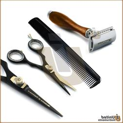 Barber Salon Set Hairdressing Scissor Hair Comb Shaving Safe