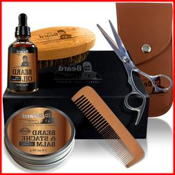 Beard Balm Trimmer Oil Growth Brush Comb Kit Mens Grooming C