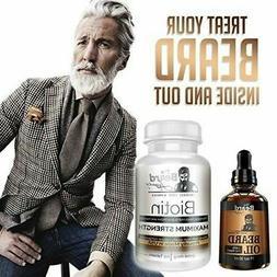 Biotin Beard Growth Supplement Vitamins Oil Unscented Facial
