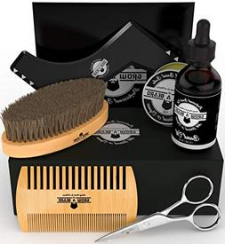 Beard Brush - Comb - Balm - Oil Grooming Facial Hair Kit For