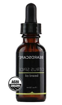 Beardscape Citrus Spice Beard Oil | USDA Organic, 1oz | Soft