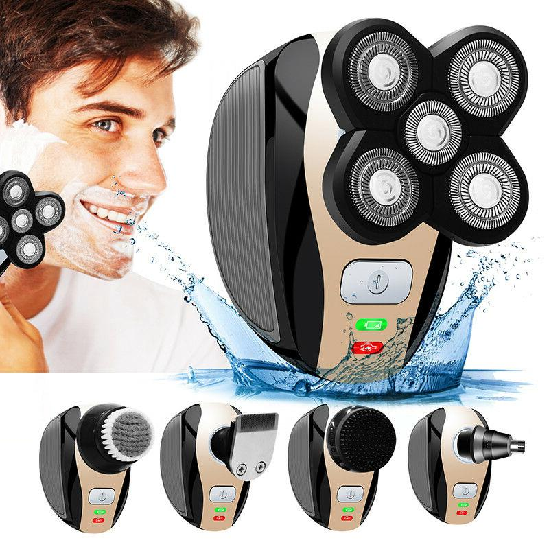 5 In 1 4D Rechargeable Bald Head Shaver Razor Hair Beard Tri