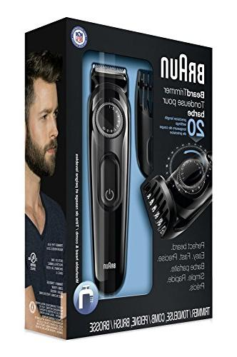 Braun Men's Beard Trimmer, Precision Settings for Includes Adaptable