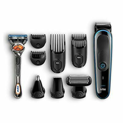 Braun - Wet/Dry Trimmer with 4 Guide Combs - Black/blue