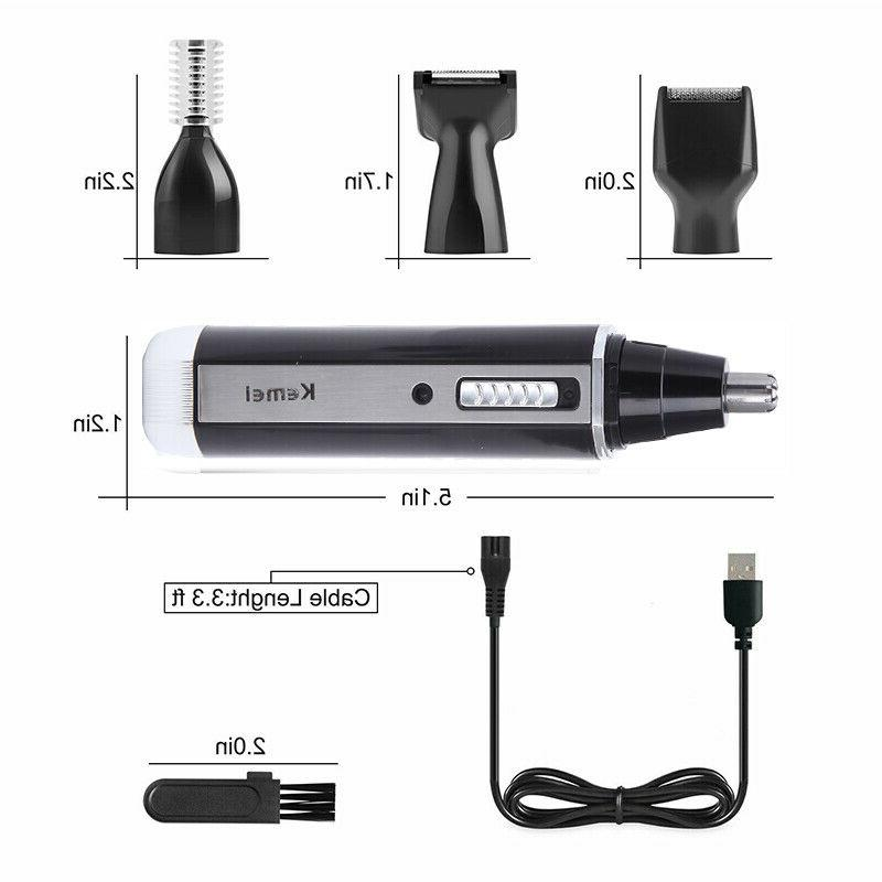 4-IN-ONE Ear Nose Hair Trimmer Beard Shaver Cordless Set LC2755
