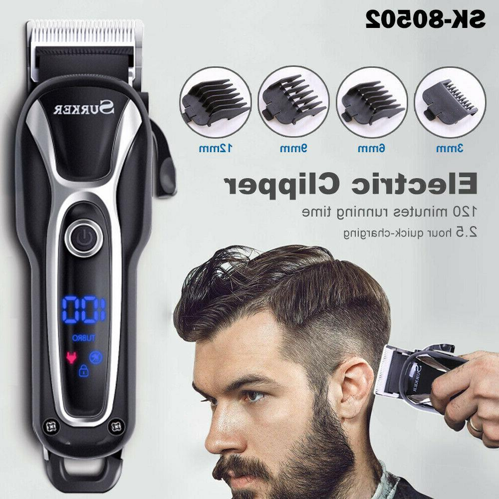 SURKER Pro Ceramic Blade Hair Clippers LED Display Barber Be