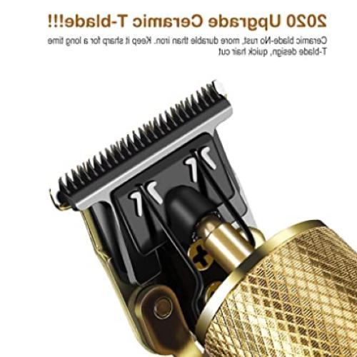 Rechargeable Hair Clippers for Men, Beard Trimmer Cordless T-Blade