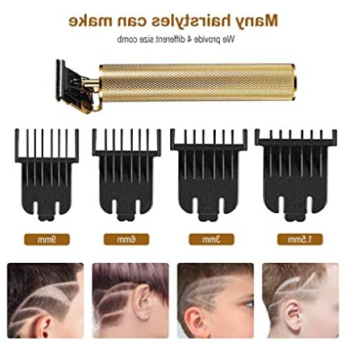 Rechargeable Hair Clippers Men, Beard Trimmer T-Blade 3 Guide