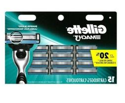 NEW Gillette Mach3 Mens Razor Blade Refills 15  Cartridges U
