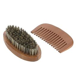 Men's Beard Brush & Comb Kit Boar Bristles Mustache Shaving