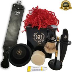Mens Mustache Beard Kit Brush Boar Massager Grooming Shaving