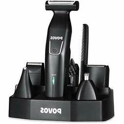 Povos 5 In 1 Beard Trimmer Body Groomer Cordless Detail Kit